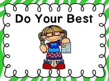 Do Your Best Poster -Freebie (Zebra Green Border)