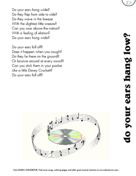 Do Your Ears Hang Low -  Lyric Sheet
