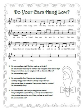 """Do Your Ears Hang Low"" Printable Song Sheet"