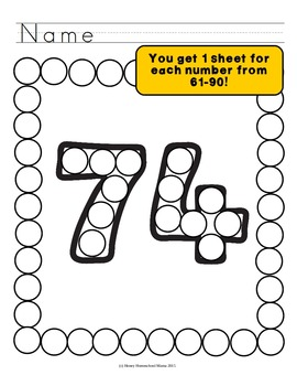 Do-a-Dot Basic Numbers 61 to 90 Dot the Numbers and the Frame