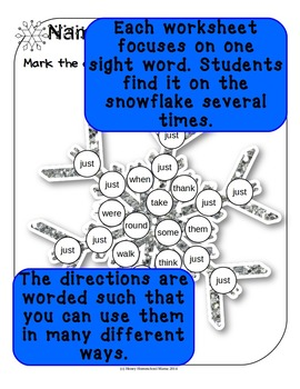 Do-a-Dot Dolch 1st Grade Sight Words Snowflake Worksheets