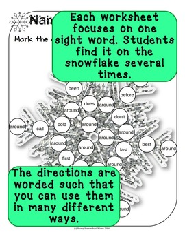 Do-a-Dot Dolch 2nd Grade Sight Words Snowflake Worksheets