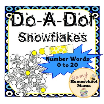 Do-a-Dot Glittery Snowflake Worksheets - Number Words Zero