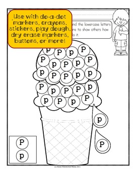 Do-a-Dot Ice Cream Alphabet Activity for Uppercase and Lowercase Letters