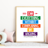 Do everything without complaining or arguing - Bible verse poster