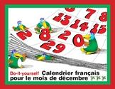 Do-it-yourself Calendrier français pour le mois de décembre