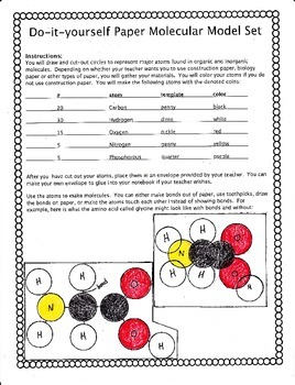 Do-it-yourself Paper Molecular Model Set