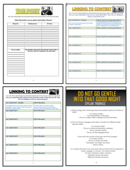 Do not go gentle into that good night Comprehension Activities Booklet!