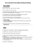 Do's and Don'ts  for DBQ and Essay Writing