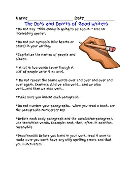 Do's and Don'ts of Good Writings