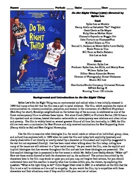Do the Right Thing Film (1989) Study Guide Movie Packet