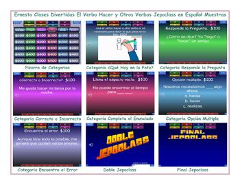 Do versus Make or Hacer Spanish Jeopardy Game