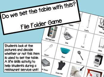 Do we use this to set a table? File Folder Game