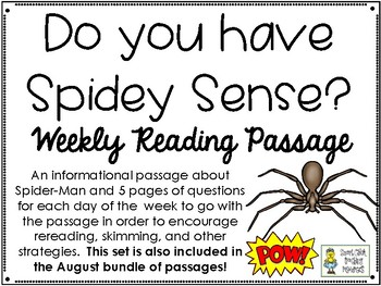 Do you have Spidey Sense? - Weekly Reading Passage and Questions