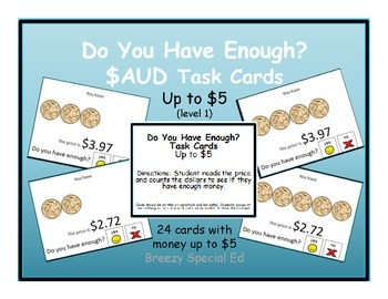 Do you have enough AUSTRALIAN money? Money Task Cards for