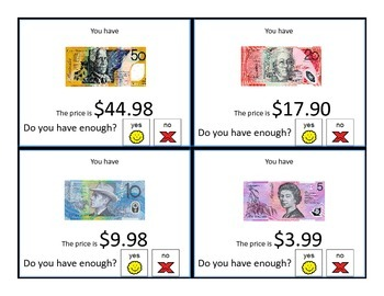 Do you have enough AUSTRALIAN money? LEVEL 2 Task Cards for special education