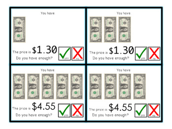 Do you have enough money? Money Math Task Cards for special education