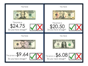 Do you have enough money? Level 2 - Money Math Task Cards for special education