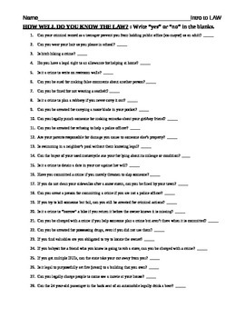 Do you know the law? worksheet criminal law introduction worksheet