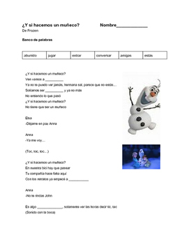 Do you want to build a snowman? Lyrics/cloze Spanish