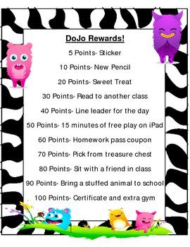DoJo Behavior Management Reward Chart