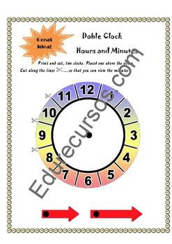 Doble Clock to teach hours and minutes (2 pages)