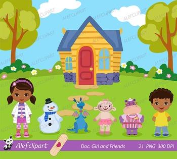 Doc Girl and Friends, Doctor Clip Art, Doc McStuffins Clipart,Doc McStuffins
