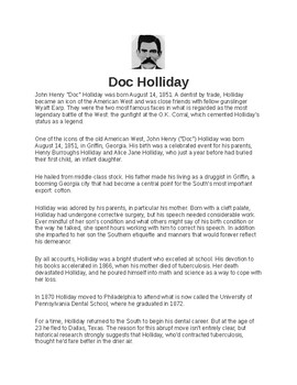 Doc Holiday Article and Assignment