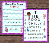Doc McStuffins Eye Chart & Patient Exam - Pretend Dramatic Play - PRINTABLE