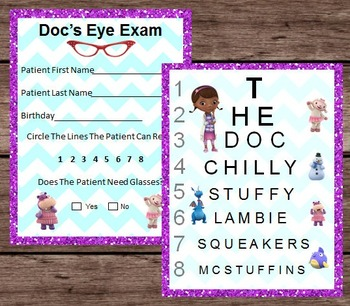 Doc McStuffins Eye Chart Patient Exam