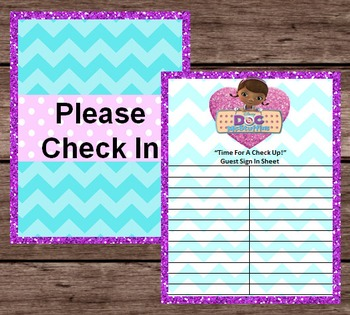 Doc McStuffins Party Guest Check In - Disney - Pretend Dramatic Play - PRINTABLE