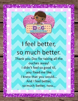 Doc McStuffins Song Lyrics Disney Birthday Party Pretend Dramatic Play - Doctor