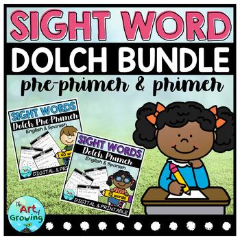 Kindergarten Sight Word Worksheets - Dolch Pre-Primer & Primer Bundle!