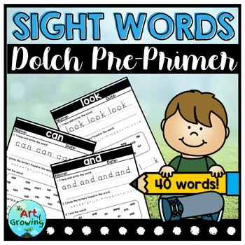 Kindergarten Sight Word Worksheets - Dolch Pre-Primer (40 Words)