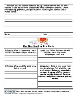 Doctor DeSoto, Tiny Seed, Stone Soup Reading Worksheets