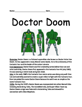 Doctor Doom - comic book character informational lesson facts questions