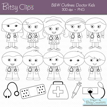 Doctor Kids Digital Art Set Clipart Commercial Use WITH Black and White Outlines
