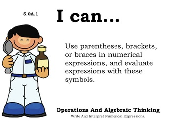 Doctor Kids Theme 5th grade math Common Core Posters Fifth Grade Standards
