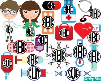 Doctor Medic Nurse hospital medicine ADN Cutting Files svg biology science -40s