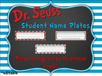 Doctor Seuss Inspired Editable Name Plates