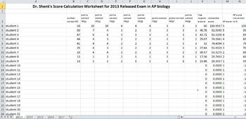 Doctor Shenks Sample Biology Exam Score Calculators for 2013-2106 Exams
