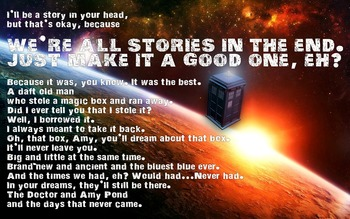 """Doctor Who Classroom Poster Tardis """"Stories"""""""