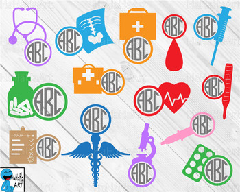 Doctor monogram V2 - Cutting Files and Clip Art Digital Files cod3c
