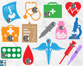 Doctor monogram V4 - Cutting Files and Clip Art Digital Files cod5c