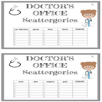 Doctor's Office and Hospitals Scattergories Game