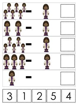 Doctor themed Math Subtraction Game. Printable Preschool Game