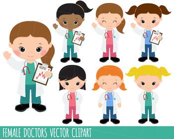 Doctors Clipart, Doctors graphics, Hospital clipart, girl doctors, planner stick