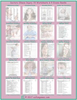 Doctors-Illness Injury 20 Worksheet Exam Bundle