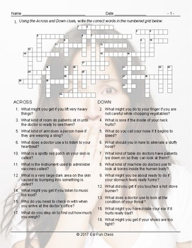 Doctors-Illness Injury Crossword Puzzle