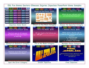 Doctors-Illnesses Injuries Jeopardy PowerPoint Game Slideshow CP